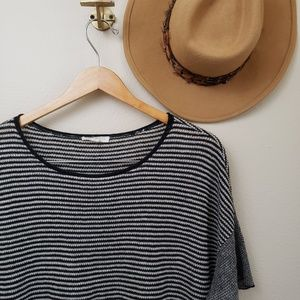 Eileen Fisher Tops - Eileen Fisher Linen Striped Short Sleeve Top Black
